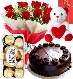 8 red roses bouquet 16 Ferrero Teddy Card and Half Kg chocolate cake