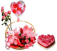 10 Pink Roses Pink teddy in a basket with 1 Kg heart Strawberry cake and 1 Pink Balloon