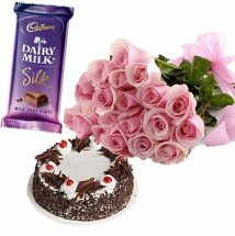12 pink roses bouquet with 12 Kg Black forest cake and 1 Silk chocolate