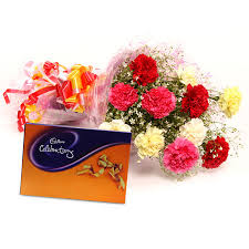 Celebration box with 8 Carnations bouquet