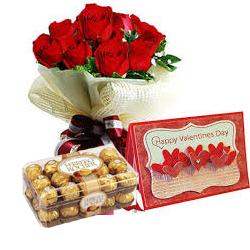 8 Red roses 16 Ferrero and Card