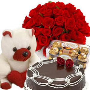 Flower Delivery International on Ferrero Rocher Chocolates 16 Pieces 1 2 Kg Cake Red Flowers  Teddy