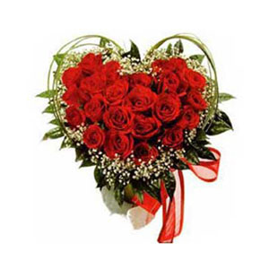 25 Red Rose Heart Shaped Arrangement