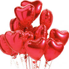 12 Air Filled Valentine heart Balloons