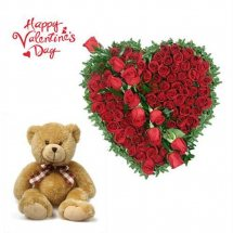 24 red roses heart with 12 inches brown teddy