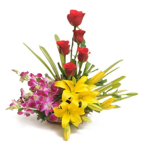 5 Red roses 4 Purple orchids 2 yellow lilies in a basket