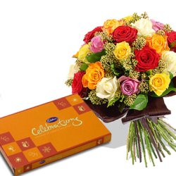 Celebration chocolate box with 12 Coloured roses bouquet