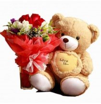 Teddy bear 12 inches with 6 red and white Roses bouquet