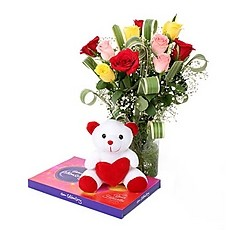 6 Mix roses bouquet with 6 Inches Teddy and Celebration box