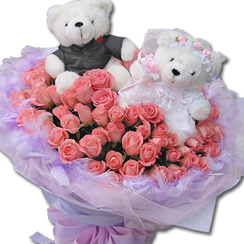 2 Teddies 6 inches each with 18 pink roses in the same basket