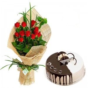 12 Red roses with 1/2 Kg Chocolate Cake
