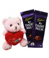 6 inches Teddy with heart and 2 Silk chocolates