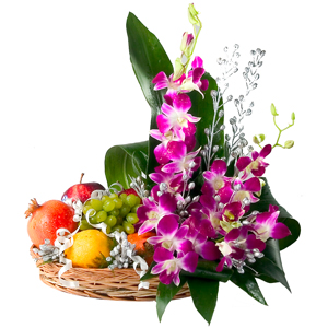 2 kg Fruits in Basket+ 6 Orchids