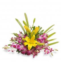 6 purple orchids 2 Yellow lilies basket