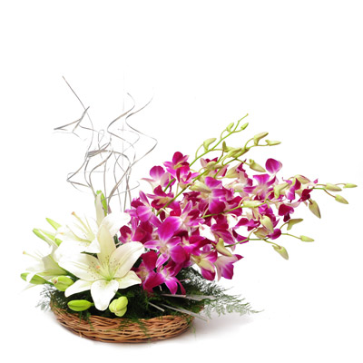 6 purple orchids 4 white lilies basket