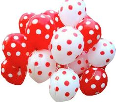 25 Red and White polka dot gas balloons