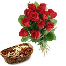 1/2 kg dryfruits basket 12 red roses