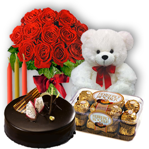 12 red roses 6 inch Teddy 1/2 kg chocolate cake 16 Ferrero rocher chocolates Candles