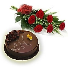 1/2 Cake and 6 red Roses Bouquet