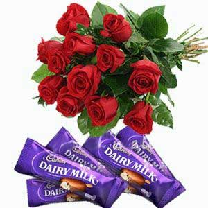 12 red roses 5 Dairy Milk chocolates
