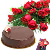 12 red Roses + 1/2 Kg chocolate Cake