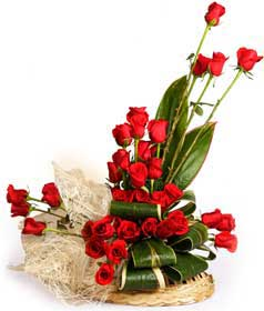 24 Red Roses Basket