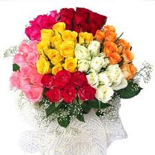 100 Multi Coloured Roses basket