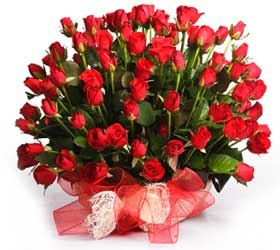50 Red Rose Basket Arrangement