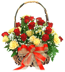 30 Red Yellow Roses Basket
