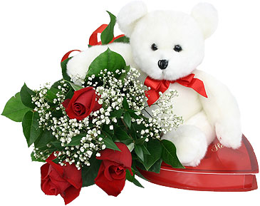 12 Red Roses heart Chocolates and 6 inch white Teddy