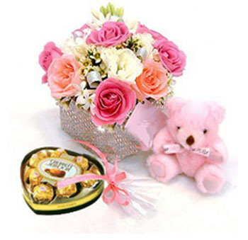 Heart Chocolates+Pink Teddy + 12 Pink roses in vase