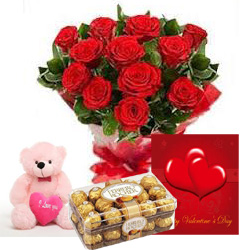 12 Red roses bouquet with 16 Ferrero and Teddy 6 inches Card