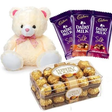 3 Silk chocolates 16 Ferrero and 6 inches Teddy