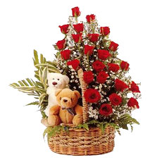 24 Red roses 2 Teddy 6 inches in same basket