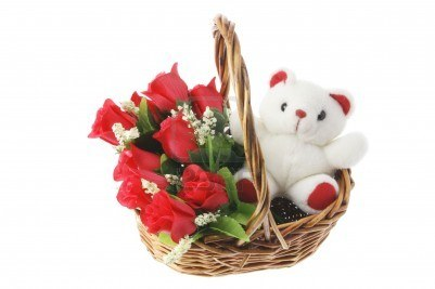 6 red Roses Teddy 6 inches in same basket