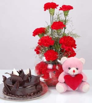 12 red carnations Vase 1/2 Kg chocolate cake Teddy