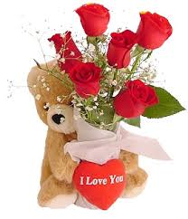 Teddy 6 inches with 6 red roses Valentine heart