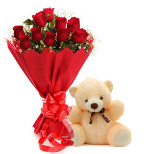 12 Red roses Red wrapping with Teddy 6 inches