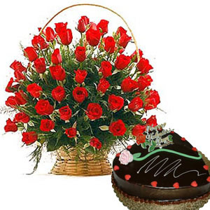 Half kg Cake(Not heart Shaped) + 24 red roses Basket