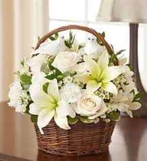 White lilies with white roses basket