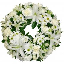 White Lilies and white flowers wreath