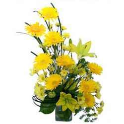 Yellow lilies with yellow gerberas Arrangement